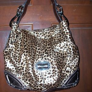 Gold & Blk Leopard Print Faux Leather Shoulder Bag
